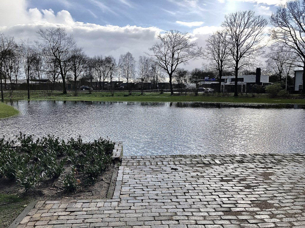 Wateroverlast in het Veghelse park.  © Kliknieuws Veghel