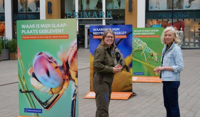 Boswachter Ellen Luijks op Plein 44 in Nijmegen waar Natuurmonumenten aandacht vraagt voor insecten.