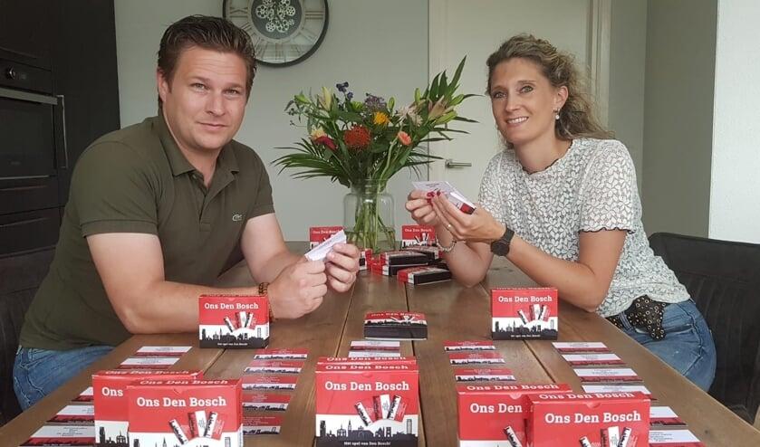 <p>Bram en Melanie van Berkel hopen dat de inwoners van de stad Den Bosch heel veel plezier gaan beleven aan het gezelschapsspel &#39;Ons Den Bosch&#39;. Een spel dat ongetwijfeld de nodige gespreksstof oplevert.</p>