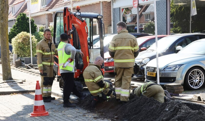 Gaslek na graafwerkzaamheden in Katwijkstraat. (Foto: Charles Mallo, Foto Mallo)