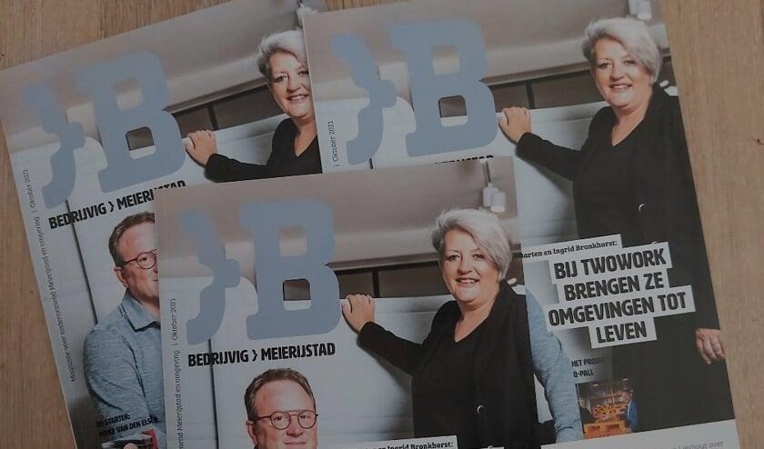 <p>Emiel Barten en Ingrid Bronkhorst van TwoWork staan op de cover van Bedrijvig Meierijstad.</p>