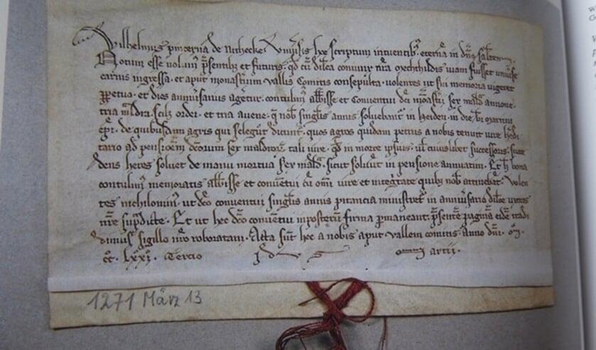 Het document waarin voor het eerst over Heijen geschreven wordt.