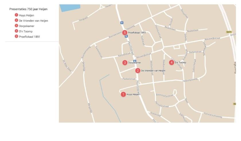 Een overzichtskaartje met de vijf presentatielocaties in Heijen.