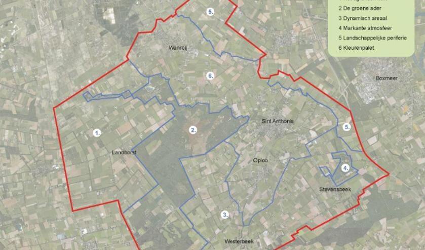 <p>De zes deelgebieden binnen de structuurvisie.</p>