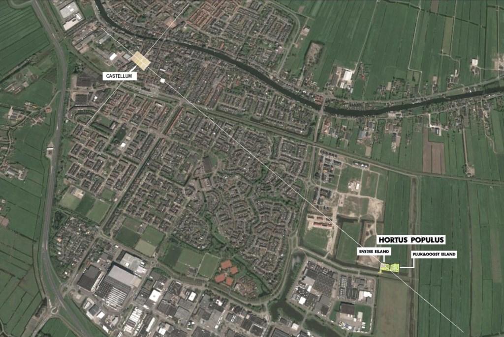 Het castellum in het centrum van Bodegraven kan toevallig precies in rechte lijn geprojecteerd worden naar de Hortus Populus.  © Graficelly B.V.