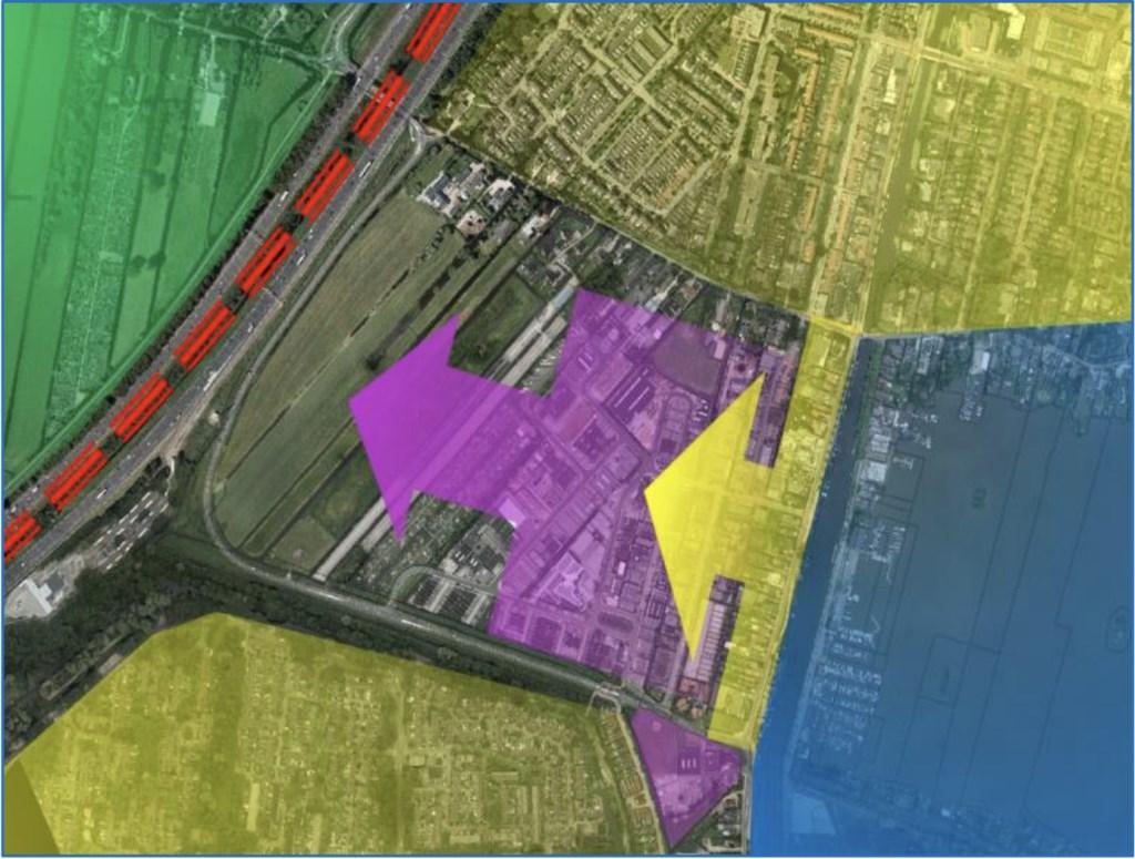 Geel: woongebied wordt uitgebreid naar Zoutman-Oost.  bedrijventerrein wordt uitgebreid naar Zoutman-West.  © Graficelly B.V.