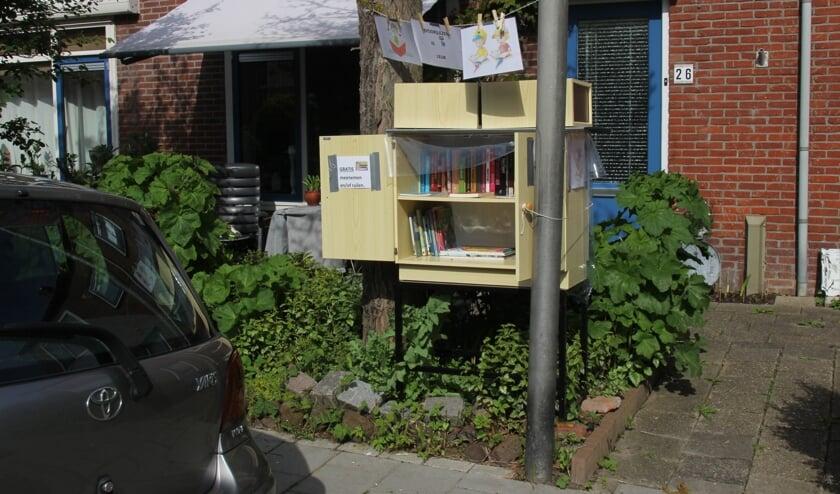 <p>Minibieb waar ook kinderboeken in staan op de hoek van de Karel Doormanstraat en de Eendrachtsweg in Bodegraven.</p>