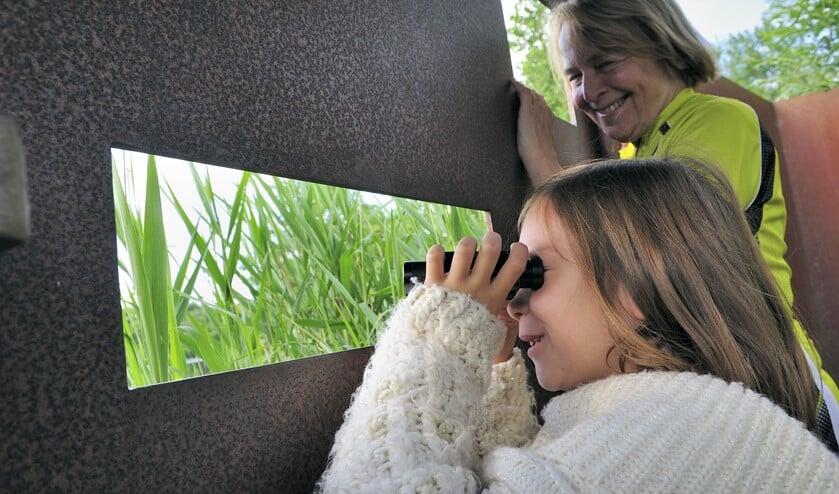 Vogels kijken in de vogelkijkhut aan de Ackerdijkseweg. (Foto: Martin van Lokven)