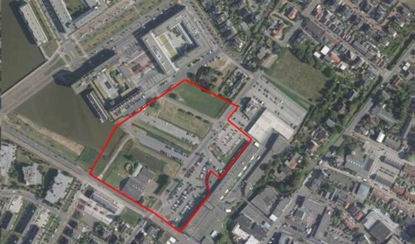 Berkel Centrum anno 2017. Het rood omlijnde gebied is waar het nieuwe centrumdeel moet komen.