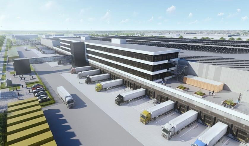 Een impressie van het te bouwen distributiecentrum (Foto: PR/Zalando)