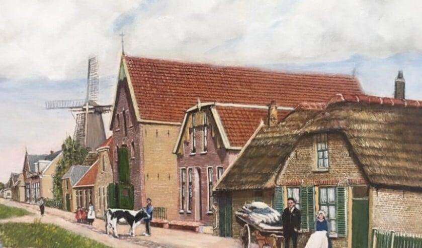 Wim schildert veelal oude dorpsgezichten. (Foto: gemeente Lansingerland)