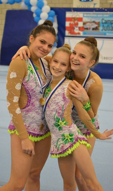 Goud voor team (v.l.n.r.) Linsey Wolff, Bo Kersten en Vera Breugem op OZAK 2020. (Foto: Jeroen Stillebroer)