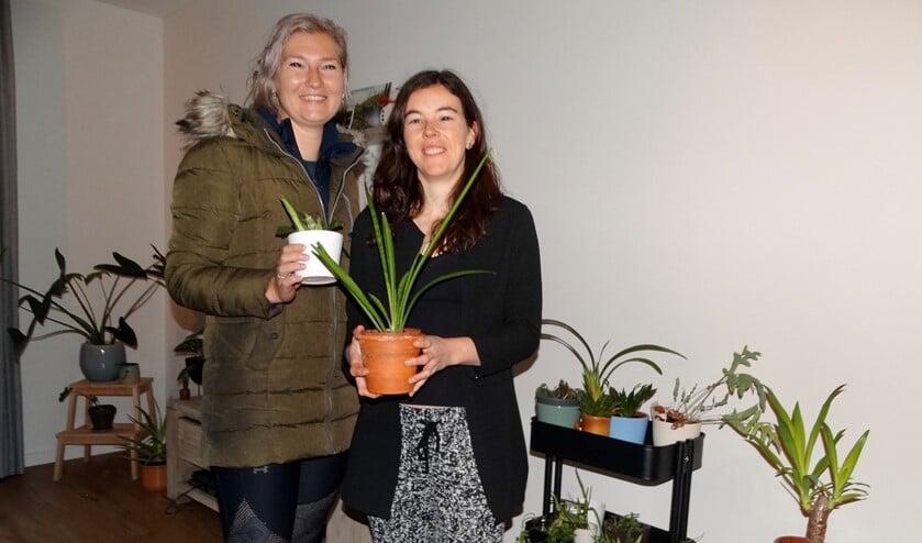 Michèle (rechts) zoekt samen met Heleen Pons een geschikte plant uit.