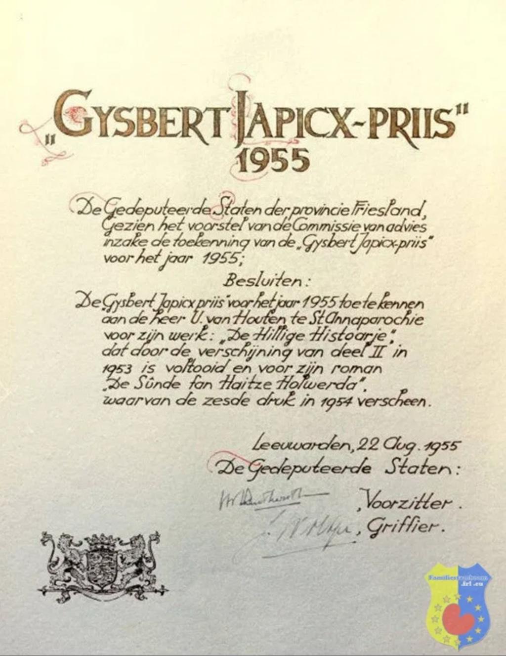 """Gysbert Japicx-priis is in 1955 toegekend aan Ulbe van Houten voor zijn voor """"De hillige histoarje"""" en de roman """"De sûnde fan Haitze Holwerda""""  © bildt.nu"""