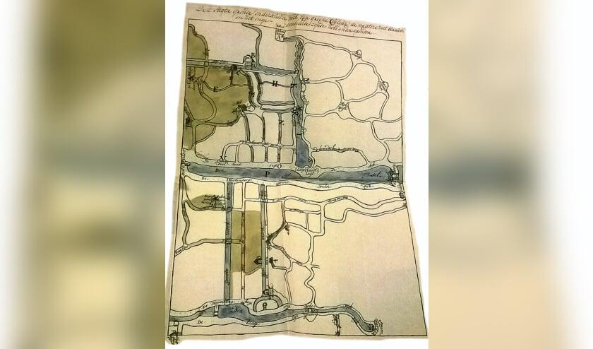 <p>Kaart getekend door Hubert van Akerval, opzichter van de cherge&#39;s (douaniers) te Gouda.</p>