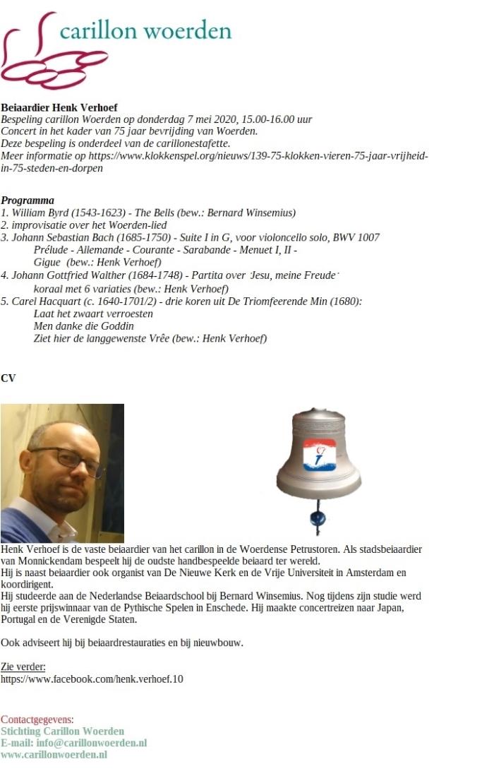 programma 7 mei 2020 en CV beiaardier Henk Verhoef