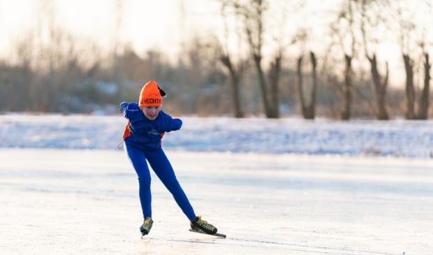 Jeugdschaatser van de Vechtstreek op natuurijs vorige winter