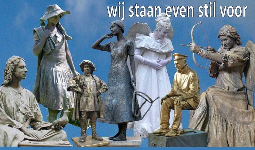Het winkelhart van Ridderkerk wordt zaterdagmiddag gesierd door levende standbeelden