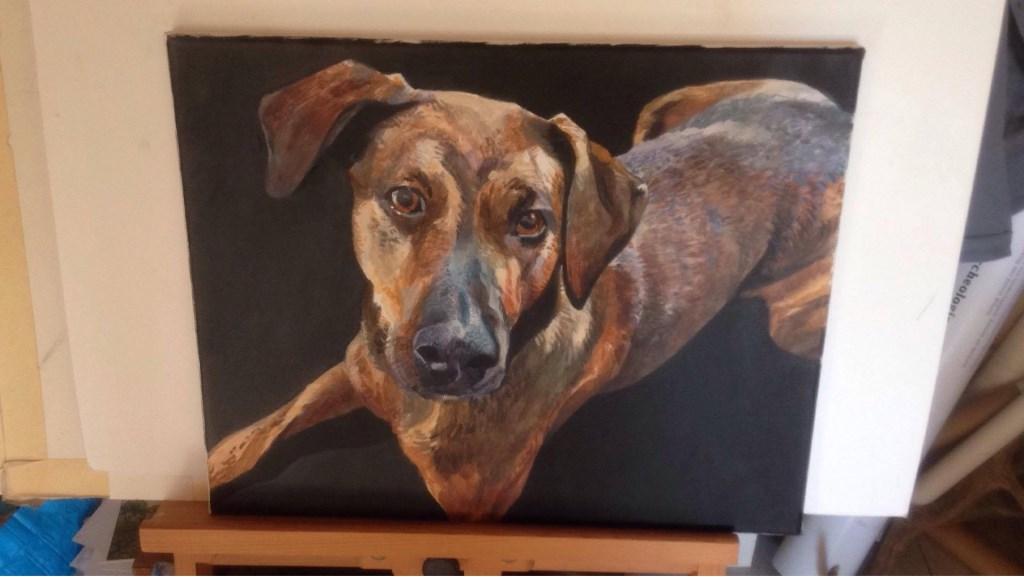 Een hondenschilderij van Kelvin Wilson bracht 300 euro op  © Baruitgeverij