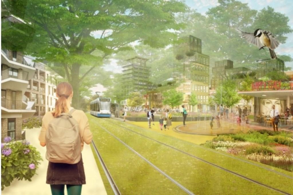 Een illustratie uit het 'Koersdocument De Stationstuinen' .   © Baruitgeverij