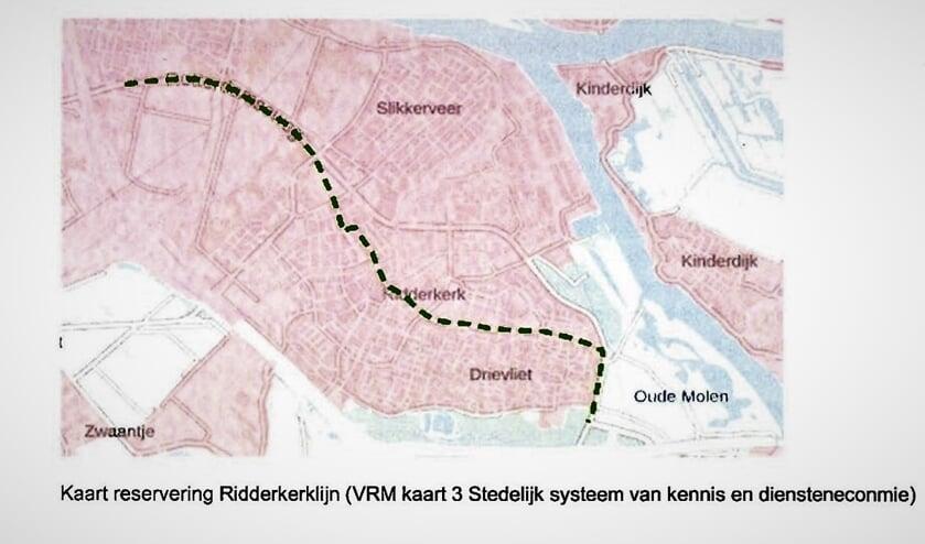 Het tracé voor de Ridderkerklijn die er niet zal komen