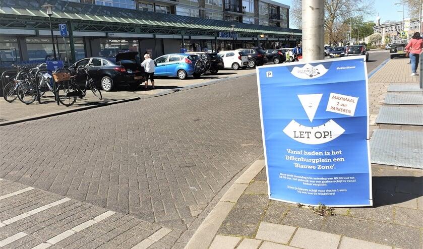 Op het Dillenburgplein is al een blauwe zone als proef