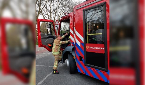 <p>Voor het laatst achter het stuur van een brandweerwagen.&nbsp;</p>