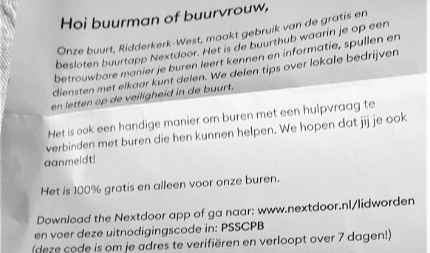 <p>De brief is ondertekend door &lsquo;Pepa Pa&rsquo;, die aan het Prunusplantsoen zou wonen. De afzender, die geen huisnummer vermeldde, is in de flats onbekend. </p>