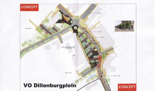 <p>Een van de tekeningen van het mogelijke toekomstbeeld van het Dillenburgplein en omgeving</p>