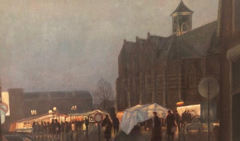 <p>Het sfeervolle schilderij Rijssense Markt van Harry te Lintelo.</p>