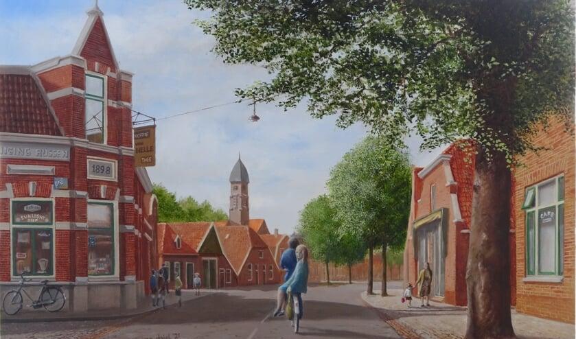 <p>Rien van Driel schildert nu vooral Rijssen uit vroeger dagen zoals de Co&ouml;peratie aan de Haarstraat</p>