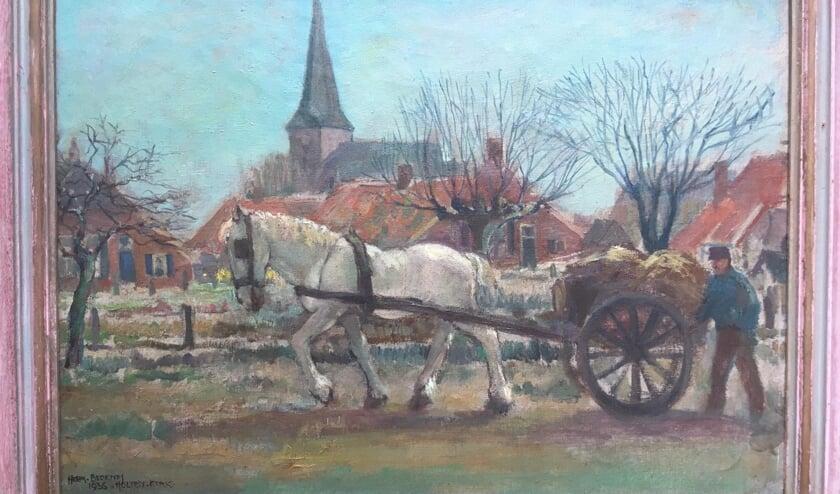 <p>Deel van schilderij van Herman Berends - Boerenmestkar over de Boschkamp</p>