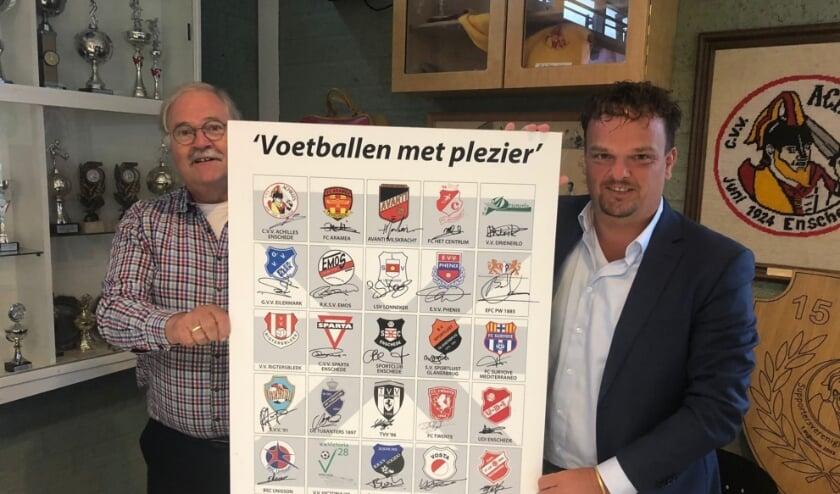 <p>FEV-penningmeester Gijs Rekers en Arjan Hof.</p>