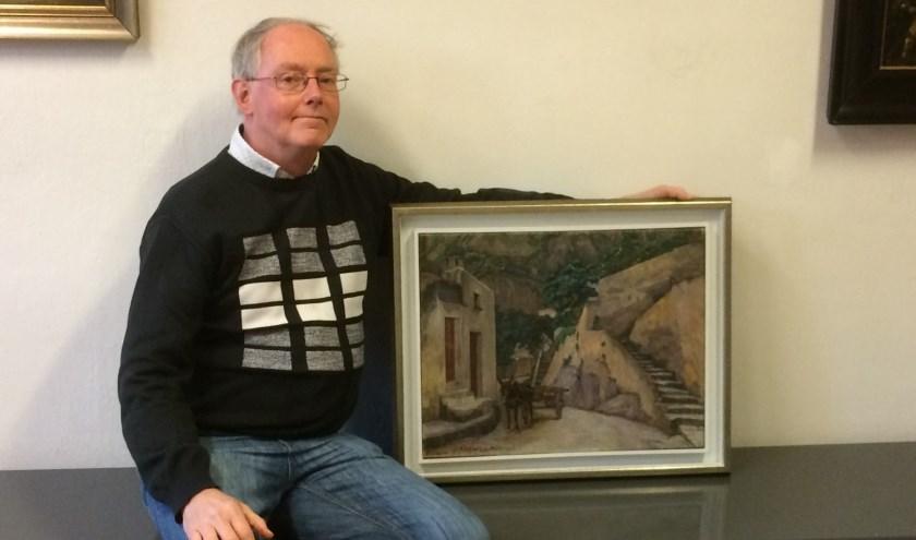 Het schilderij 'Ezel met kar' van Jo Koster ademt de rust en de eenvoud van het leven in een bergdorp, vindt museumvrijwilliger Ron Maat. Foto: Voerman Museum Hattem