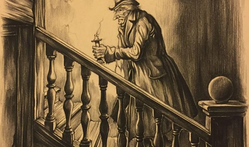 Scrooge gaat de trap op, één van de tentoongestelde werken van Anton Pieck. (afbeelding: Anton Pieck Museum)
