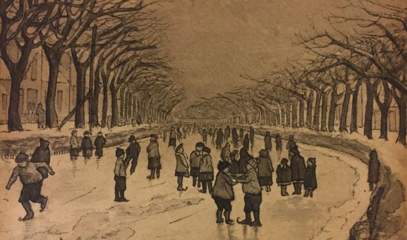 Wintergezicht in Den Helder, 1906, van Anton Pieck. Hij maakte het op 11-jarige leeftijd.
