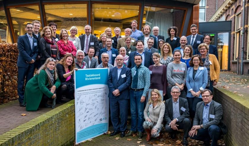 Ondertekenaars Taalakkoord Rivierenland 2018-2020.