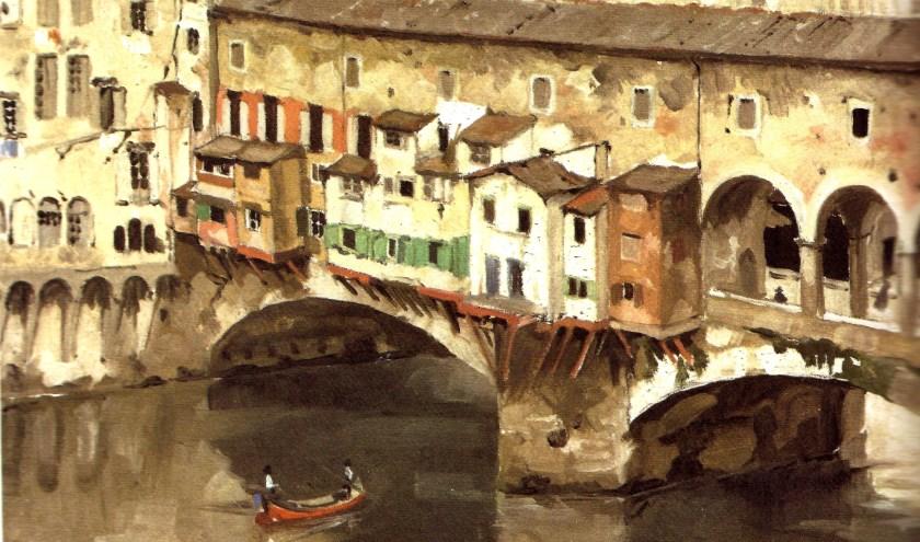 Anton Pieck maakte dit olieverfschilderij getiteld 'Ponte Vecchio' in 1930. Foto: Anton Pieck Museum