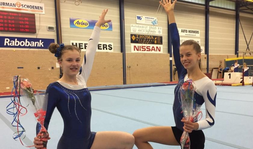 Namens GV Nunspeet kwamen onder meer Emma Klerks (l) en Leonie van der Wal in actie.