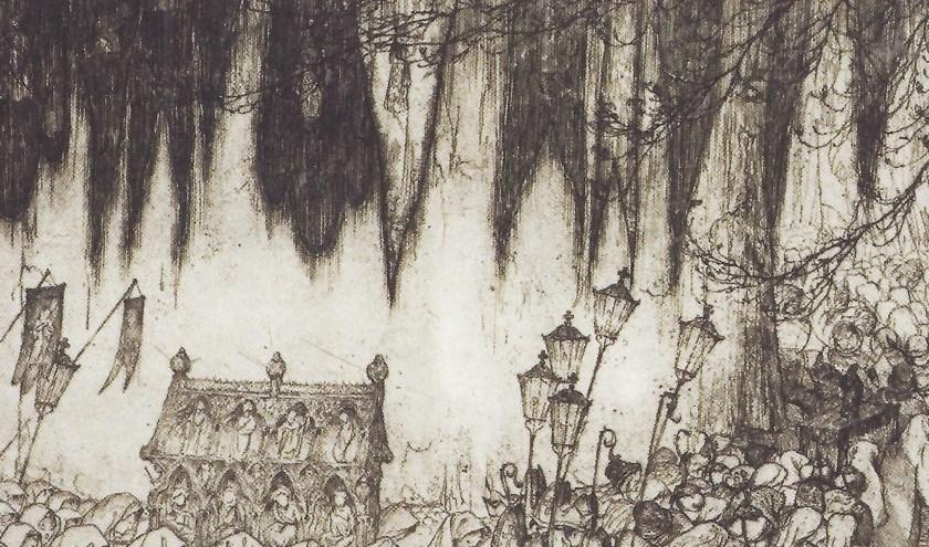 Vlaamse processie, 1919, ets Anton Pieck. (foto: Anton Pieck Museum)