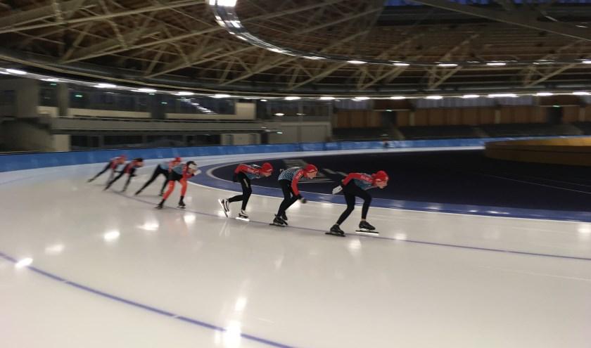 Jeugdleden in actie tijdens het trainingskamp in Berlijn. Van voor naar achter: Alec Nauta, Sebastien Weersink, Jort Ruesink, Gwen Konter, Thymen Floris, Kalle Ordelman en Niels de Kogel.