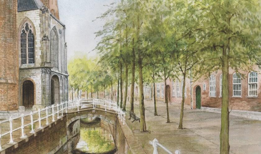 Het Oude Delft met links de Oude Kerk en rechts de ingang van het Prinsenhof.