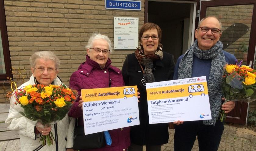 vlnr mevr. Wil van Breukelen, mevr. Henny Roelofs, Hannie Buter en Wim Gerritsen.