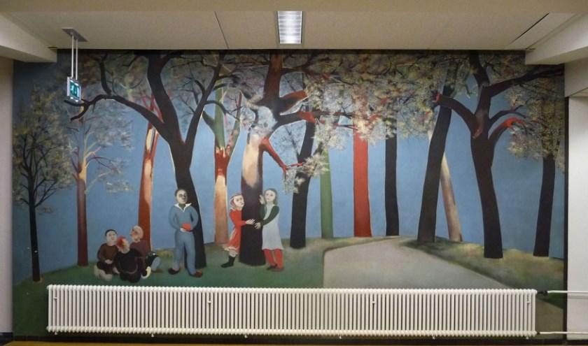 Muurschildering Kinderen in het bos Dolf Henkes.