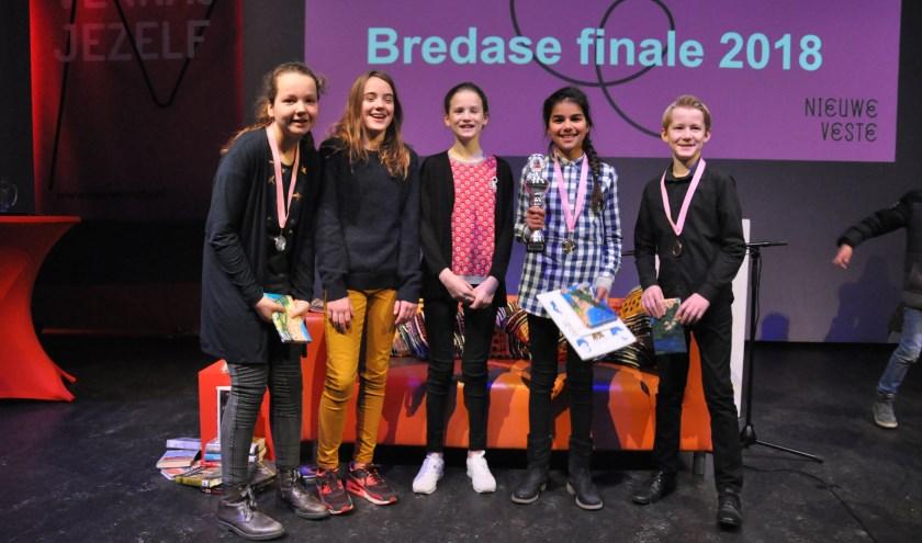De finalisten bij de basisscholen waren Antje Terpsma, Cato Eversteijn, Thijs van Hooijdonk, Amira Dridi en Saranne de Jong, van respectievelijk Boeimeer, de Weilust, De Eerste Rith, de Wegwijzer en het Noorderlicht.