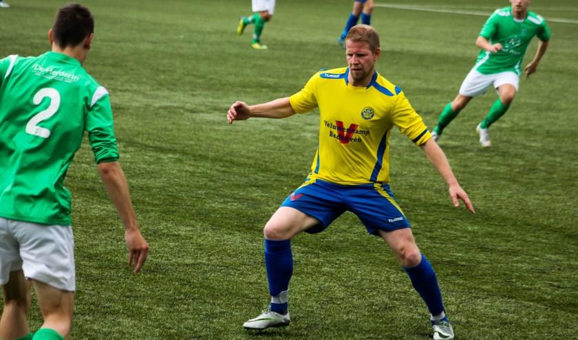 Hatto-Heim speelde tegen Olympia'28. Maarten Teuben was ook afgelopen weekend weer trefzeker. (foto: Gradus Dijkman)