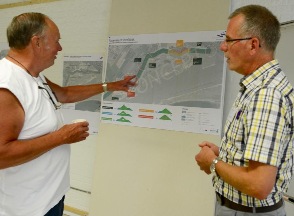 Na uitleg van Henk Havinga (r) over de nieuwe plannen is Wim van Driel erg tevreden.  © DPG Media