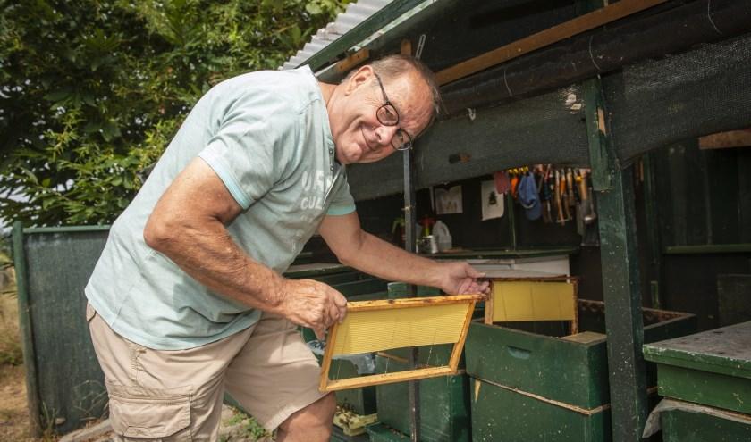De Wijchense bijenkoning Rene de Jong beleeft een succesvol honingseizoen ondanks de droogte en hitte van deze zomer. (foto: Jimmy Israël)