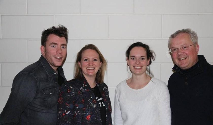 Vlnr: Tom Vinken, Anke van Kemenade, Eef Goudsmits  en Michiel Bekker. Zij vormen het productieteam van de Veldhovense Revue.