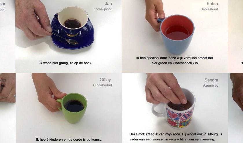 Wanneer je uit een van de Wijkkopjes koffie of thee drinkt, verschijnt op een beeldscherm in de tafel het verhaal van de bijbehorende bewoner. De kopjes dienen zo als voertuig voor het verhaal.